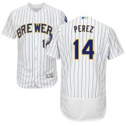 Wholesale Cheap Brewers #14 Hernan Perez White Strip Flexbase Authentic Collection Stitched MLB Jersey