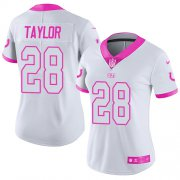 Wholesale Cheap Nike Colts #28 Jonathan Taylor White/Pink Women's Stitched NFL Limited Rush Fashion Jersey