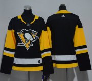 Wholesale Cheap Adidas Penguins Blank Black Home Authentic Women's Stitched NHL Jersey