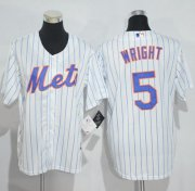 Wholesale Cheap Mets #5 David Wright White(Blue Strip) Home Cool Base Stitched Youth MLB Jersey