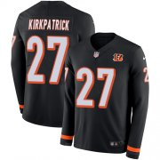 Wholesale Cheap Nike Bengals #27 Dre Kirkpatrick Black Team Color Men's Stitched NFL Limited Therma Long Sleeve Jersey