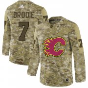 Wholesale Cheap Adidas Flames #7 TJ Brodie Camo Authentic Stitched NHL Jersey