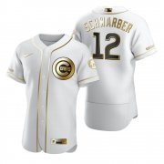 Wholesale Cheap Chicago Cubs #12 Kyle Schwarber White Nike Men's Authentic Golden Edition MLB Jersey