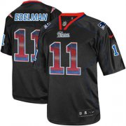 Wholesale Cheap Nike Patriots #11 Julian Edelman Lights Out Black Men's Stitched NFL Elite Strobe Jersey