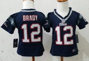 Wholesale Cheap Toddler Nike Patriots #12 Tom Brady Navy Blue Team Color Stitched NFL Elite Jersey