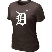 Wholesale Cheap Women's Detroit Tigers Heathered Nike Brown Blended T-Shirt