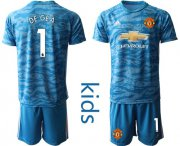 Wholesale Cheap Manchester United #1 De Gea Light Blue Goalkeeper Kid Soccer Club Jersey