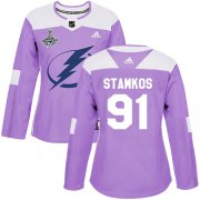 Cheap Adidas Lightning #91 Steven Stamkos Purple Authentic Fights Cancer Women's 2020 Stanley Cup Champions Stitched NHL Jersey