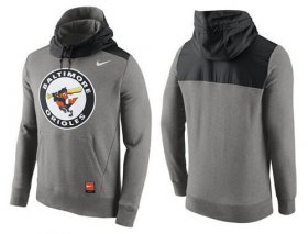 Wholesale Cheap Men\'s Baltimore Orioles Nike Gray Cooperstown Collection Hybrid Pullover Hoodie