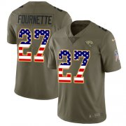 Wholesale Cheap Nike Jaguars #27 Leonard Fournette Olive/USA Flag Youth Stitched NFL Limited 2017 Salute to Service Jersey