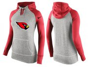 Wholesale Cheap Women's Nike Arizona Cardinals Performance Hoodie Grey & Red_3