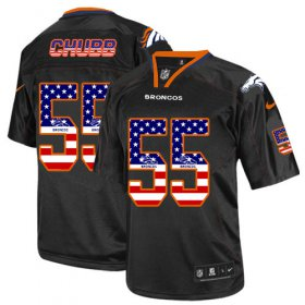 Wholesale Cheap Nike Broncos #55 Bradley Chubb Black Men\'s Stitched NFL Elite USA Flag Fashion Jersey