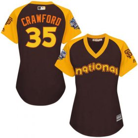Wholesale Cheap Giants #35 Brandon Crawford Brown 2016 All-Star National League Women\'s Stitched MLB Jersey