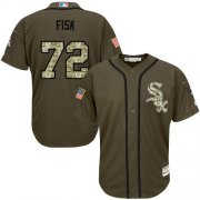 Wholesale Cheap White Sox #72 Carlton Fisk Green Salute to Service Stitched Youth MLB Jersey
