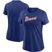 Wholesale Cheap Atlanta Braves Nike Women's Cooperstown Collection Wordmark T-Shirt Royal