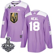 Wholesale Cheap Adidas Golden Knights #18 James Neal Purple Authentic Fights Cancer 2018 Stanley Cup Final Stitched Youth NHL Jersey