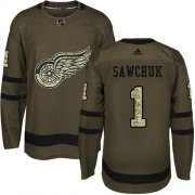 Wholesale Cheap Adidas Red Wings #1 Terry Sawchuk Green Salute to Service Stitched NHL Jersey