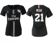 Wholesale Cheap Women's Jordan Paris Saint-Germain #21 Weah Home Soccer Club Jersey