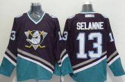 Wholesale Cheap Ducks #13 Teemu Selanne Purple/Turquoise CCM Throwback Stitched NHL Jersey