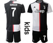 Wholesale Cheap Juventus #7 Ronaldo Home Kid Soccer Club Jersey