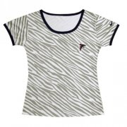 Wholesale Cheap Women's Nike Atlanta Falcons Chest Embroidered Logo Zebra Stripes T-Shirt
