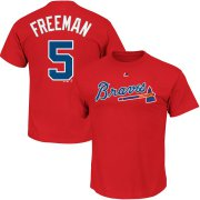 Wholesale Cheap Atlanta Braves #5 Freddie Freeman Majestic Official Name and Number T-Shirt Red