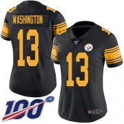 Wholesale Cheap Nike Steelers #13 James Washington Black Women's Stitched NFL Limited Rush 100th Season Jersey