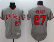 Wholesale Cheap Angels of Anaheim #27 Mike Trout Grey Flexbase Authentic Collection Stitched MLB Jersey