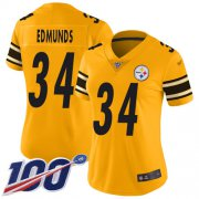 Wholesale Cheap Nike Steelers #34 Terrell Edmunds Gold Women's Stitched NFL Limited Inverted Legend 100th Season Jersey