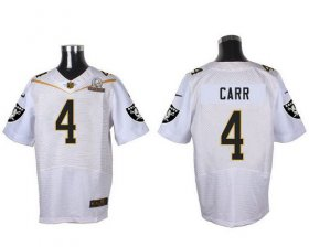 Wholesale Cheap Nike Raiders #4 Derek Carr White 2016 Pro Bowl Men\'s Stitched NFL Elite Jersey