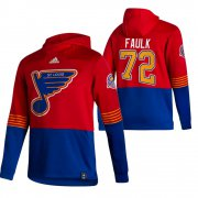 Wholesale Cheap St. Louis Blues #72 Justin Faulk Adidas Reverse Retro Pullover Hoodie Red