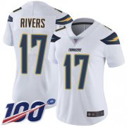 Wholesale Cheap Nike Chargers #17 Philip Rivers White Women's Stitched NFL 100th Season Vapor Limited Jersey