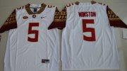 Wholesale Cheap Men's Florida State Seminoles #5 Jameis Winston White Stitched College Football 2016 Nike NCAA Jersey
