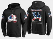 Wholesale Cheap Avalanche #34 Carl Soderberg NHL Banner Wave Usa Flag Black Hoodie