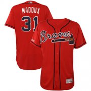 Wholesale Cheap Braves #31 Greg Maddux Red Flexbase Authentic Collection Stitched MLB Jersey