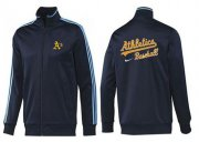 Wholesale Cheap MLB Oakland Athletics Zip Jacket Dark Blue_2