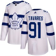Wholesale Cheap Adidas Maple Leafs #91 John Tavares White Authentic 2018 Stadium Series Stitched Youth NHL Jersey