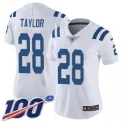 Wholesale Cheap Nike Colts #28 Jonathan Taylor White Women's Stitched NFL 100th Season Vapor Untouchable Limited Jersey