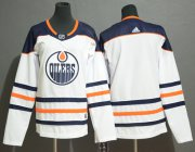 Wholesale Cheap Adidas Oilers Blank White Road Authentic Women's Stitched NHL Jersey