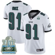 Wholesale Cheap Nike Eagles #91 Fletcher Cox White Super Bowl LII Champions Youth Stitched NFL Vapor Untouchable Limited Jersey
