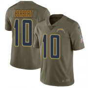 Wholesale Cheap Nike Chargers #10 Justin Herbert Olive Youth Stitched NFL Limited 2017 Salute To Service Jersey