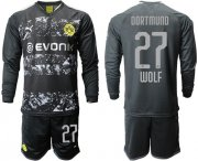Wholesale Cheap Dortmund #27 Wolf Away Long Sleeves Soccer Club Jersey