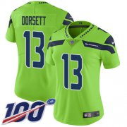 Wholesale Cheap Nike Seahawks #13 Phillip Dorsett Green Women's Stitched NFL Limited Rush 100th Season Jersey