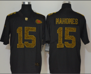 Wholesale Cheap Men's Kansas City Chiefs #15 Patrick Mahomes Black 2020 Nike Flocked Leopard Print Vapor Limited NFL Jersey