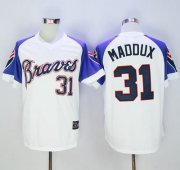 Wholesale Cheap Mitchell And Ness 1973 Braves #31 Greg Maddux White Throwback Stitched MLB Jersey