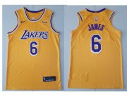 Wholesale Cheap Nike Los Angeles Lakers #6 LeBron James Gold NBA Swingman Icon Edition Jersey