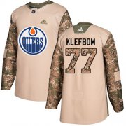 Wholesale Cheap Adidas Oilers #77 Oscar Klefbom Camo Authentic 2017 Veterans Day Stitched NHL Jersey