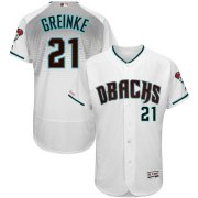 Wholesale Cheap Arizona Diamondbacks #21 Zack Greinke Majestic Fashion Authentic Collection Flex Base Player Jersey White