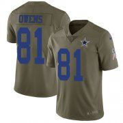 Wholesale Cheap Nike Cowboys #81 Terrell Owens Olive Men's Stitched NFL Limited 2017 Salute To Service Jersey
