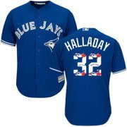 Wholesale Cheap Blue Jays #32 Roy Halladay Blue Team Logo Fashion Stitched MLB Jersey